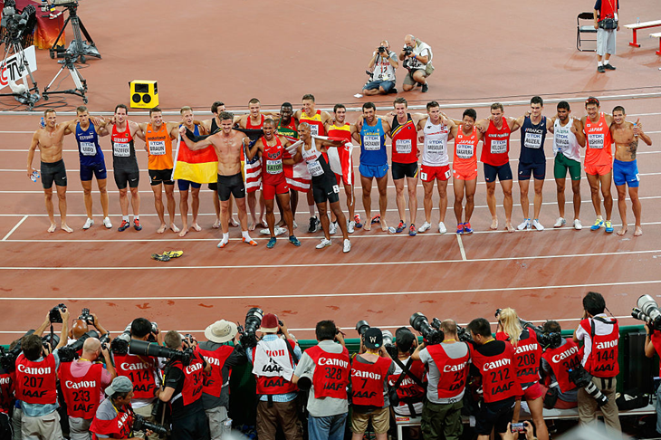 Decathletes on their lap of honour in Beijing (Getty Images)
