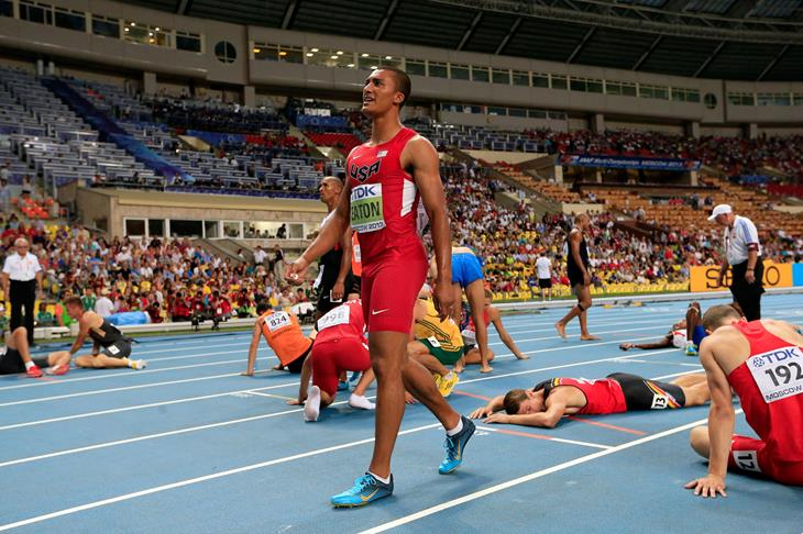Ashton Eaton after winning decathlon gold  at Moscow World Championships 2013 ()