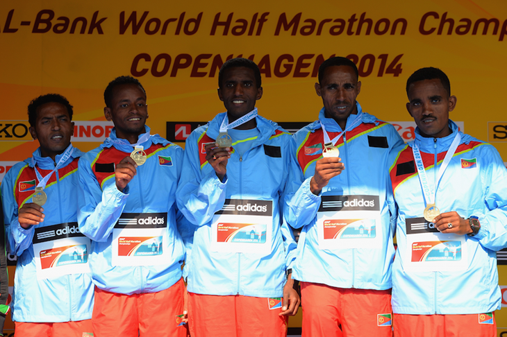 The Eritrean team at the 2014 World Half-Marathon Championships ()