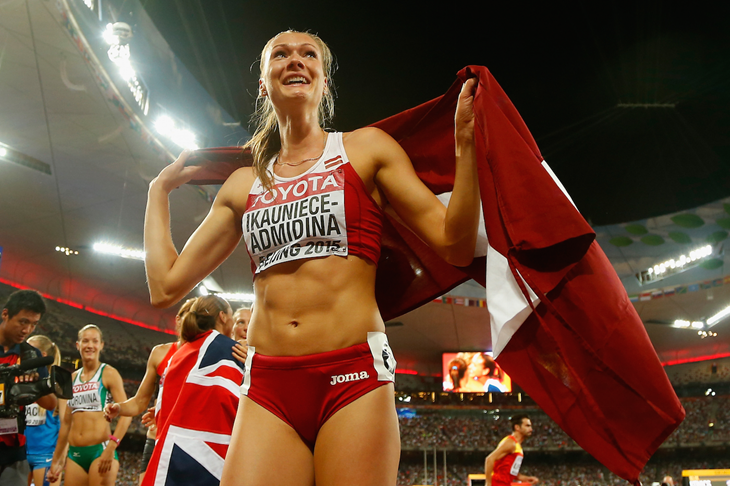 Laura Ikauniece-Admidina celebrates bronze at the 2015 IAAF World Championships (Getty Images)