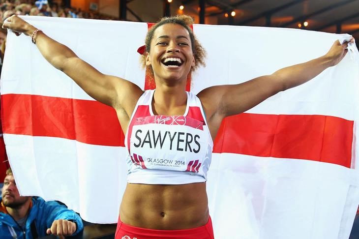 Jazmin Sawyers celebrates long jump silver at the 2014 Commonwealth Games (Getty Images)