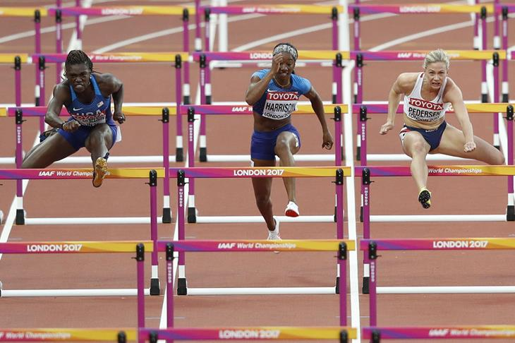 Keni Harrison during the semi finals of the 100m hurdles (Getty Images / AFP)