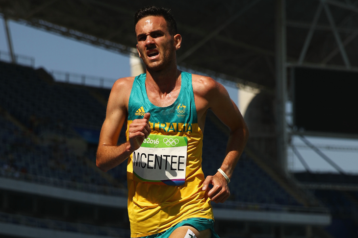 Sam McEntee competes in the 5000m in Rio ()