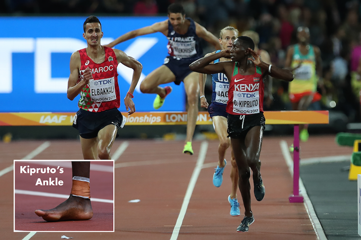 Conseslus Kipruto And His Foot in London ()
