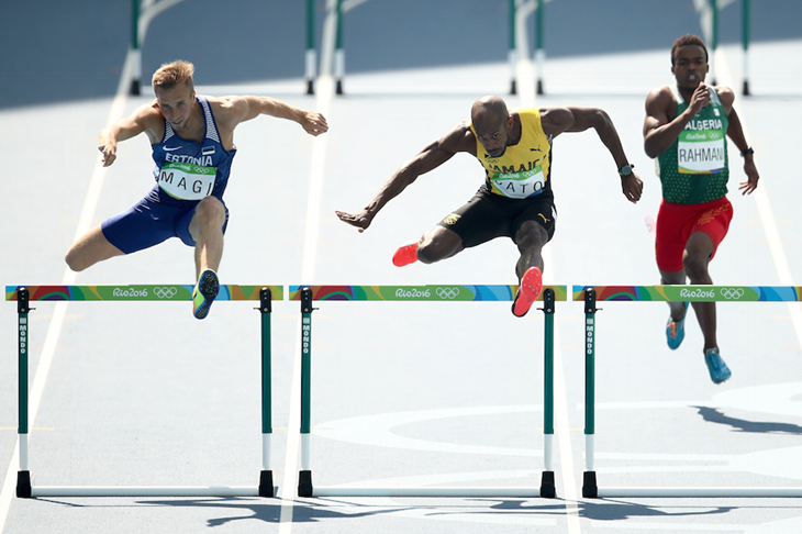 Rasmus Mägi competes in the 400m hurdles at the Rio Olympics ()