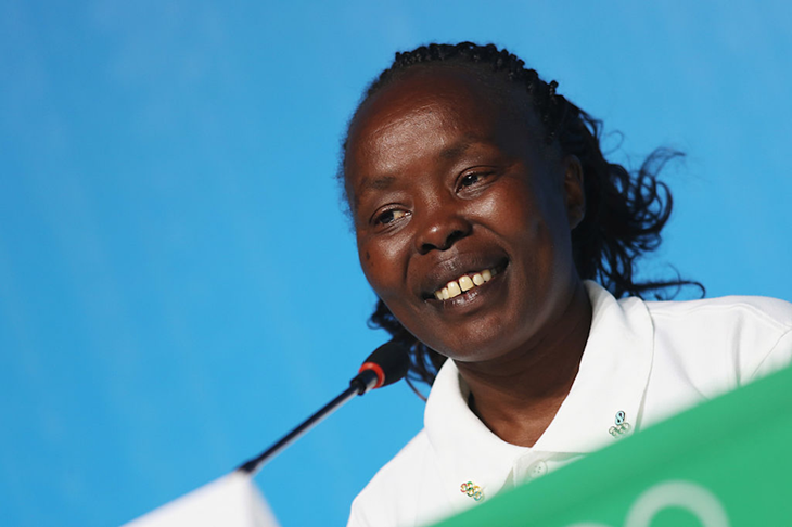 Tegla Loroupe speaks as Chef de Mission for the Olympic Refugee Team ()