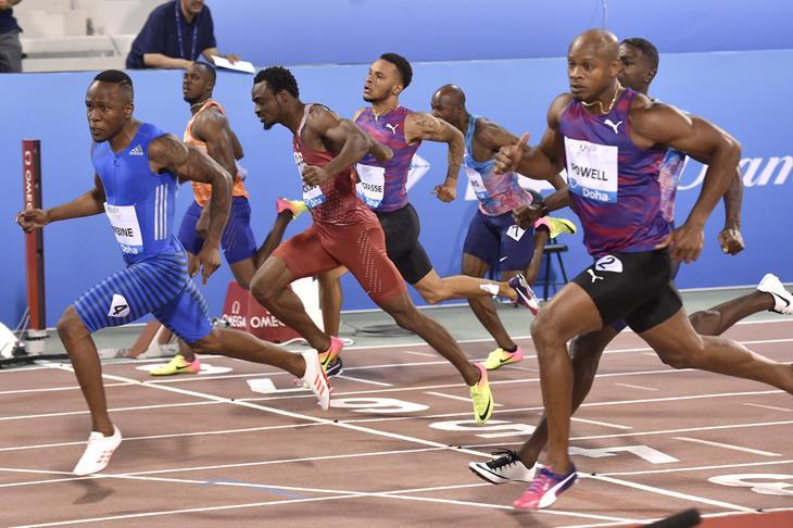 Akani Simbine prevails in Doha (Hasse Sjogren/Jiro Mochizuki)