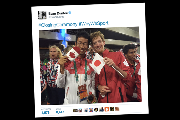 Evan Dunfee at the Rio Closing Ceremony ()