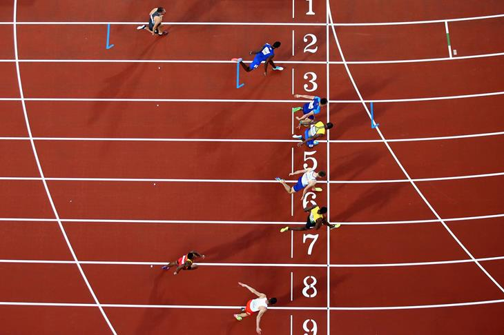 Finish of the men's 110m hurdles at the London Championships (Getty Images)