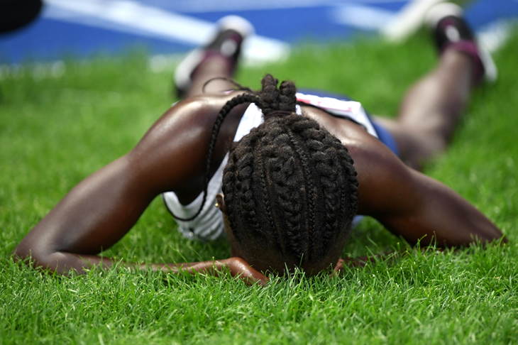 Lonah Salpeter reacts after her race at the European Championships in Berlin (Getty Images)