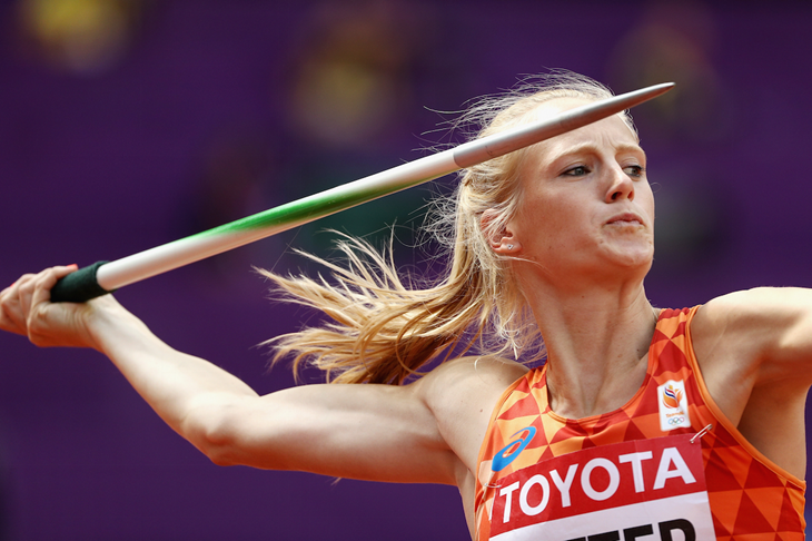 Anouk Vetter competes in the heptathlon javelin (Getty Images)