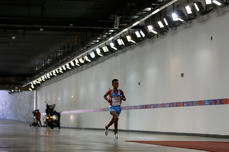 Ghirmay Ghebreslassie in the tunnel at Beijing World Champs ()