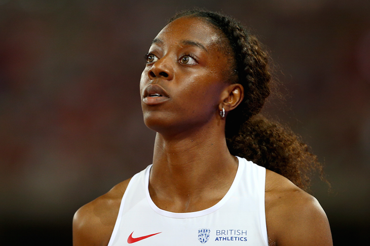 Lorraine Ugen awaits her result at the 2015 Beijing World Championships ()