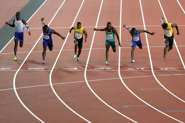 Akani Simbine in the men's 100m final at the 2017 World Championships (Getty Images)