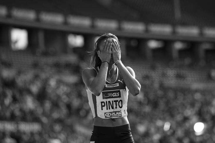 Tatjana Pinto celebrates winning the German title (Getty Images)