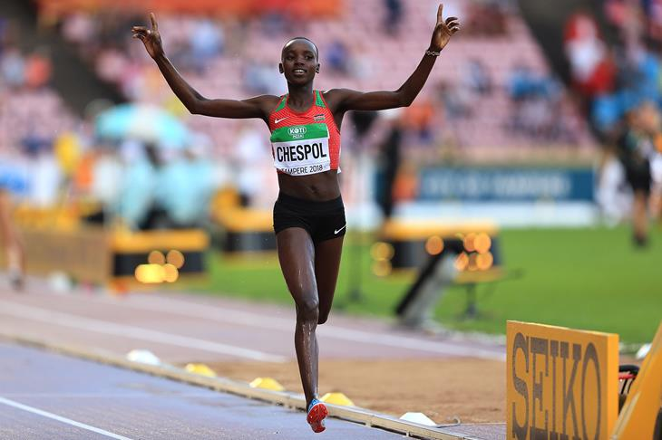 Celliphine Chespol wins the 3000m steeplechase at the IAAF World U20 Championships Tampere 2018 (Getty Images)