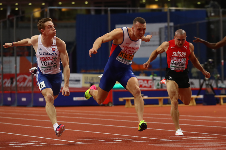 Richard Kilty crosses the line in the European indoor 60m final (Getty Images)