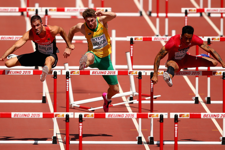 Nick Hough during the 110m hurdles heats at the Beijing World Championships ()