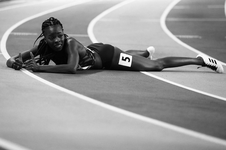 Cynthia Bolingo after winning silver at the European Indoor Championships (Getty Images)