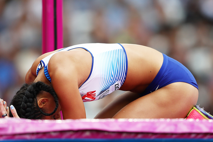 Katarina Johnson-Thompson during the high jump (Getty Images)