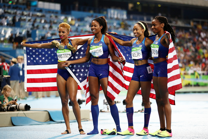 Team USA 4x400m women celebrate their win at the Rio Olympics (Getty Images)