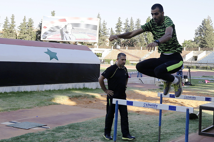 Majd Eddin Ghazal training at Damascus stadium (AFP / Getty Images)