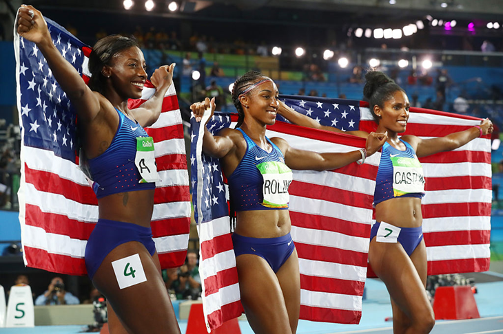 The USA celebrate a clean sweep in the women's hurdles  (Getty Images)