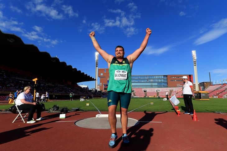 Kyle Blignaut wins the men's shot put at the IAAF World U20 Championships Tampere 2018 (Getty Images)