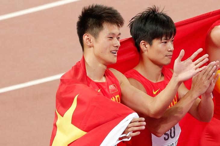 Xie Zhenye and Su Bingtian at the 2015 World Championships (Getty Images)