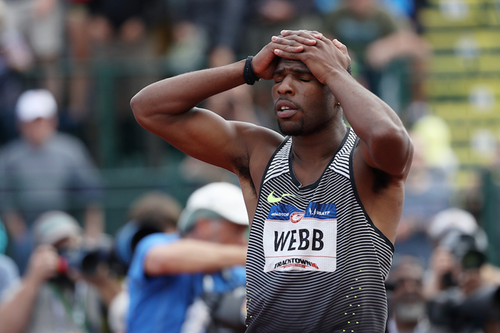 Ameer Webb reacts after finishing third at the US Olympic Trials ()