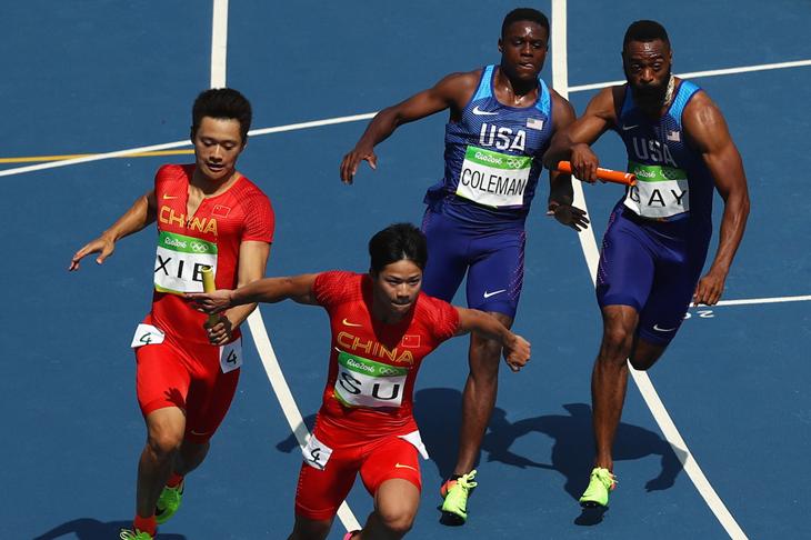 Xie Zhenye and Su Bingtian at the 2016 Rio Olympics (Getty Images)