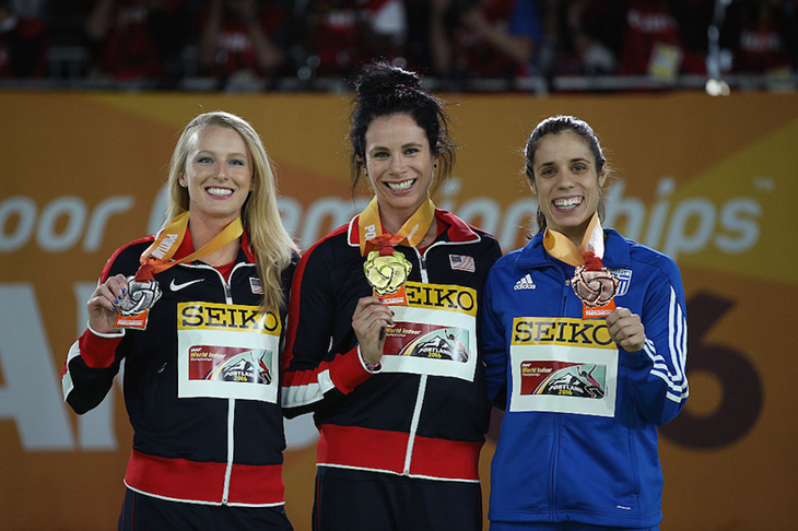 Sandi Morris, Jenn Suhr and Ekaterini Stefanidi at the Portland World Indoor Championships ()