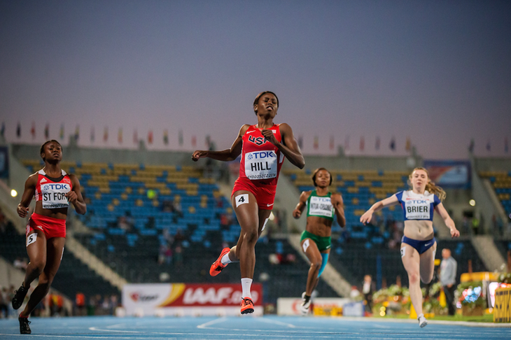 Candace Hill competes at the World U20 Championships in Bydgoszcz ()