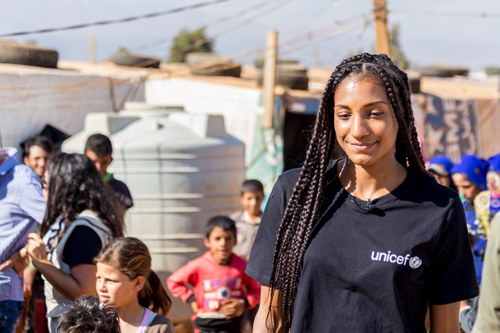 Nafissatou Thiam in Lebanon with UNICEF (UNICEF BELGIUM/Benjamin Denolf)