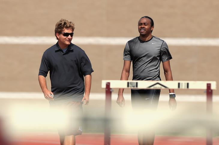 Aries Merritt and coach Andreas Behm ()