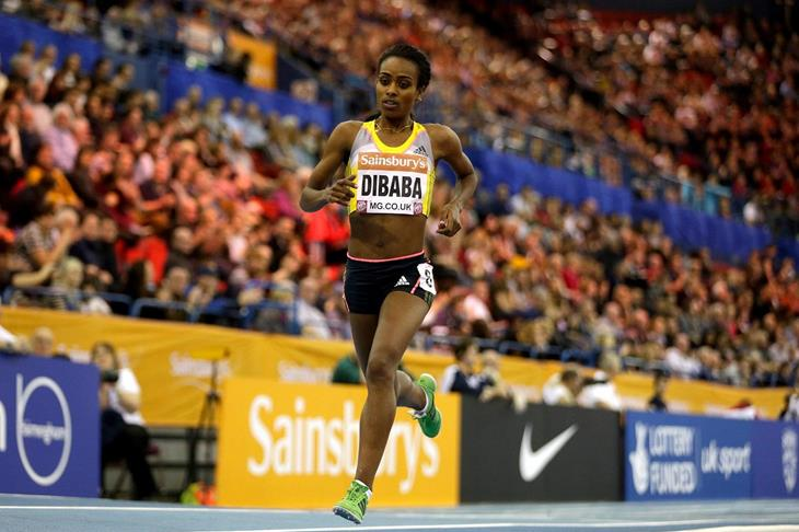 Genzebe Dibaba breaking the two miles indoor world best at the 2014 Sainsbury's Indoor Grand Prix in Birmingham  (Getty Images)