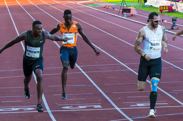 Aaron Brown and Ramil Guliyev at the 2018 Oslo Diamond League  (AFP / Getty Images)