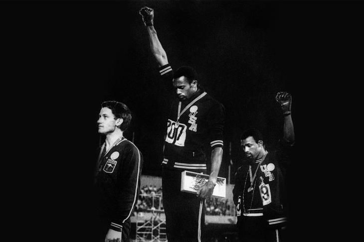 Peter Norman, Tommie Smith and John Carlos at the 1968 Olympics in Mexico City (AFP / Getty Images)
