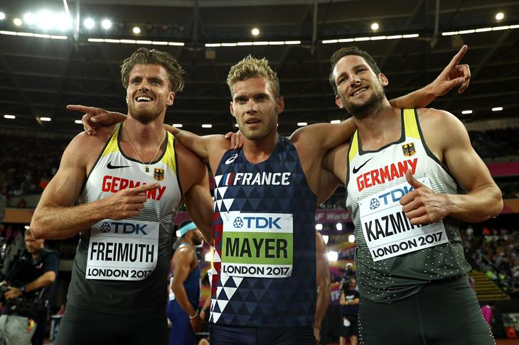 Medallists in the decathlon celebrate at the London World Championships (Getty Images)