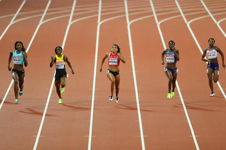 Mujinga Kambundji in the women's 200m semi-finals at the 2017 IAAF World Championships in London (Getty)