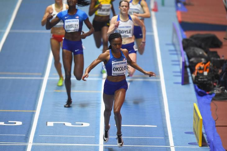 Courtney Okolo wins the IAAF World Indoor Championships (Getty Images)