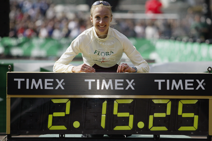 Paula Radcliffe in London with her world record figures (Getty Images)