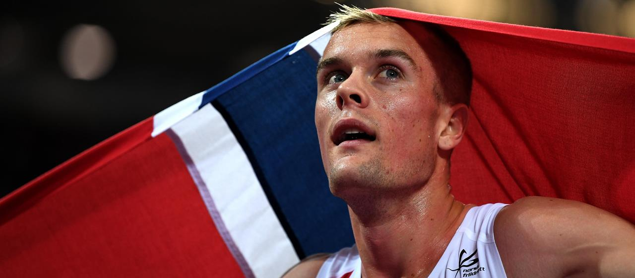 Filip Ingebrigtsen celebrates at the IAAF World Championships in London (Getty Images)