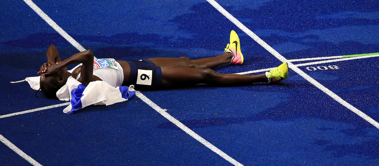 Lonah Chemtai Salpeter celebrates gold at the European Championships (Getty Images)