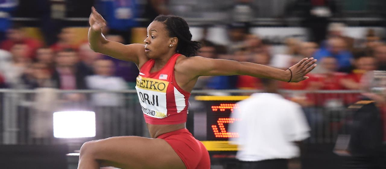 Keturah Orji competes at the 2016 World Indoor Championships (Getty Images / AFP)