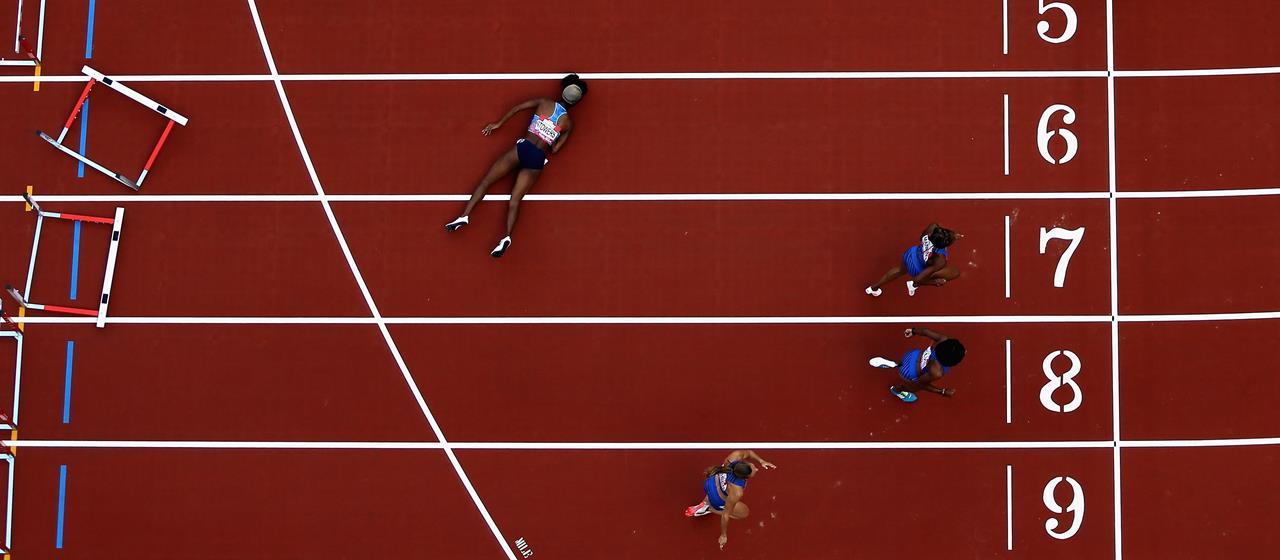 Jasmin Stowers falls at the final hurdle at the London Anniversary Games (Getty Images)
