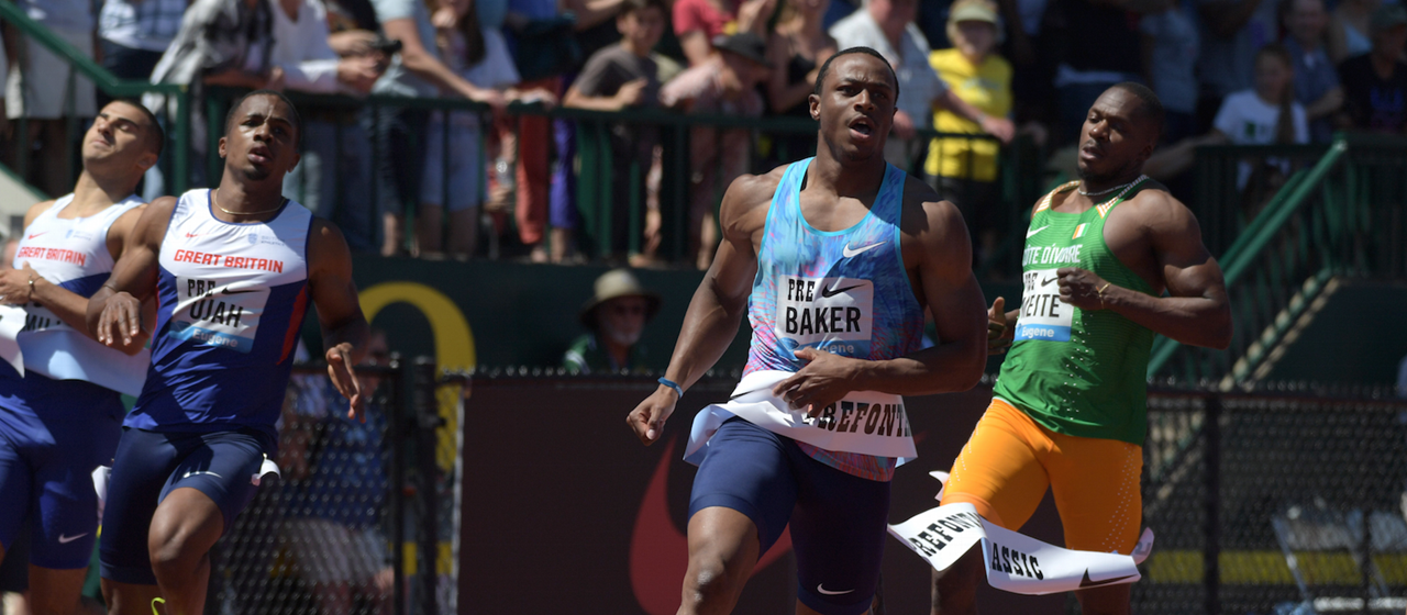 Ronnie Baker wins the 2017 Prefontaine Classic 100m (Kirby Lee)