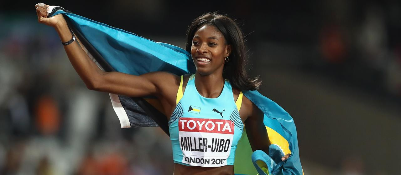 Shaunae Miller-Uibo celebrates 200m medal at London IAAF World Championships (Getty Images)