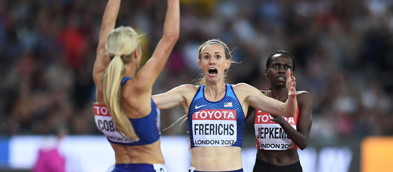 Courtney Frerichs crosses the line in the 3000m steeplechase in London (Getty Images / AFP)