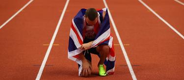 Richard Kilty celebrates European Indoor Gold  (Getty Images)